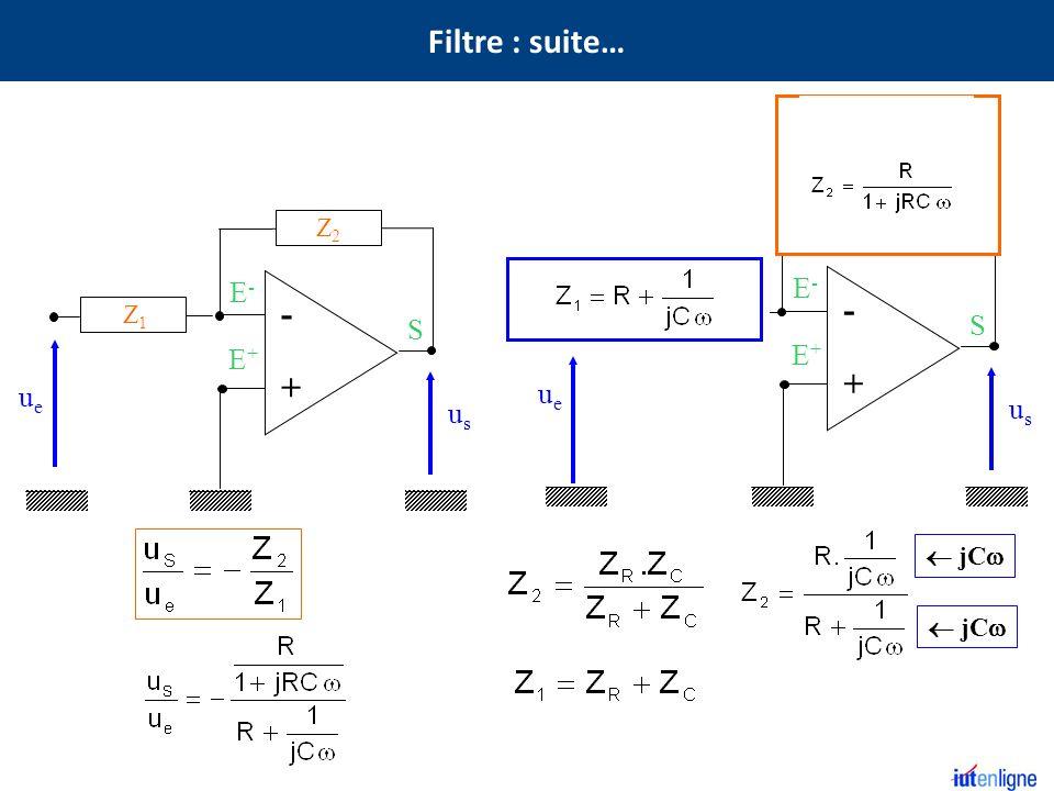 Filtre : suite… Z2 - - + + C R C E- E- R S S E+ E+ ue ue us us Z2 Z1