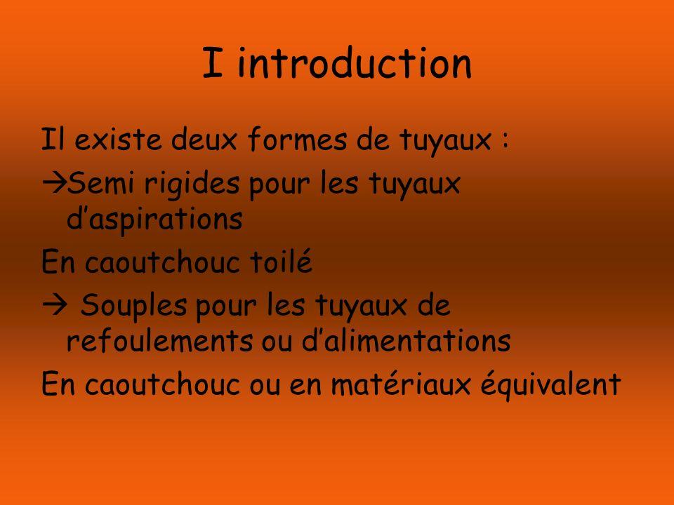 I introduction Il existe deux formes de tuyaux :