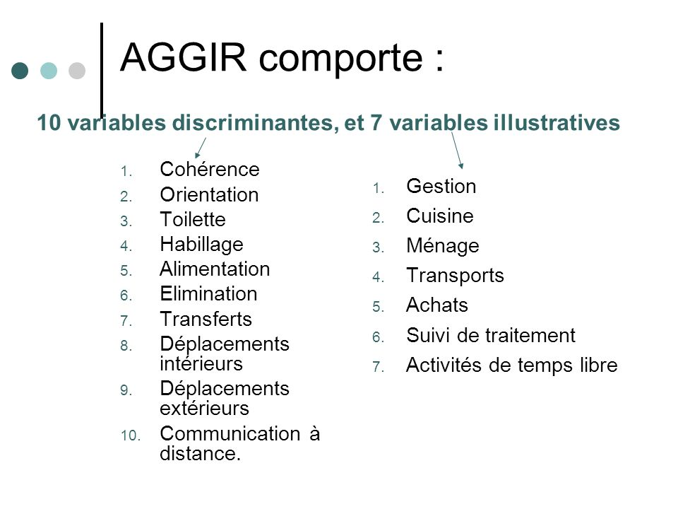 AGGIR comporte : 10 variables discriminantes, et 7 variables illustratives. Cohérence. Orientation.