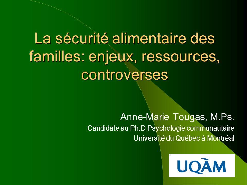 La sécurité alimentaire des familles: enjeux, ressources, controverses