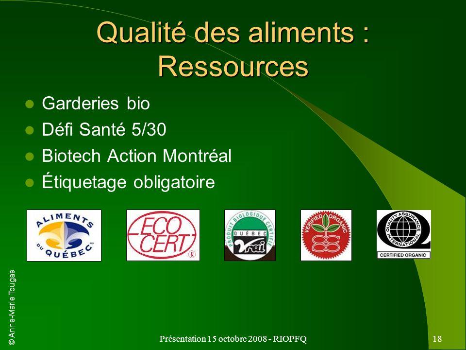 Qualité des aliments : Ressources
