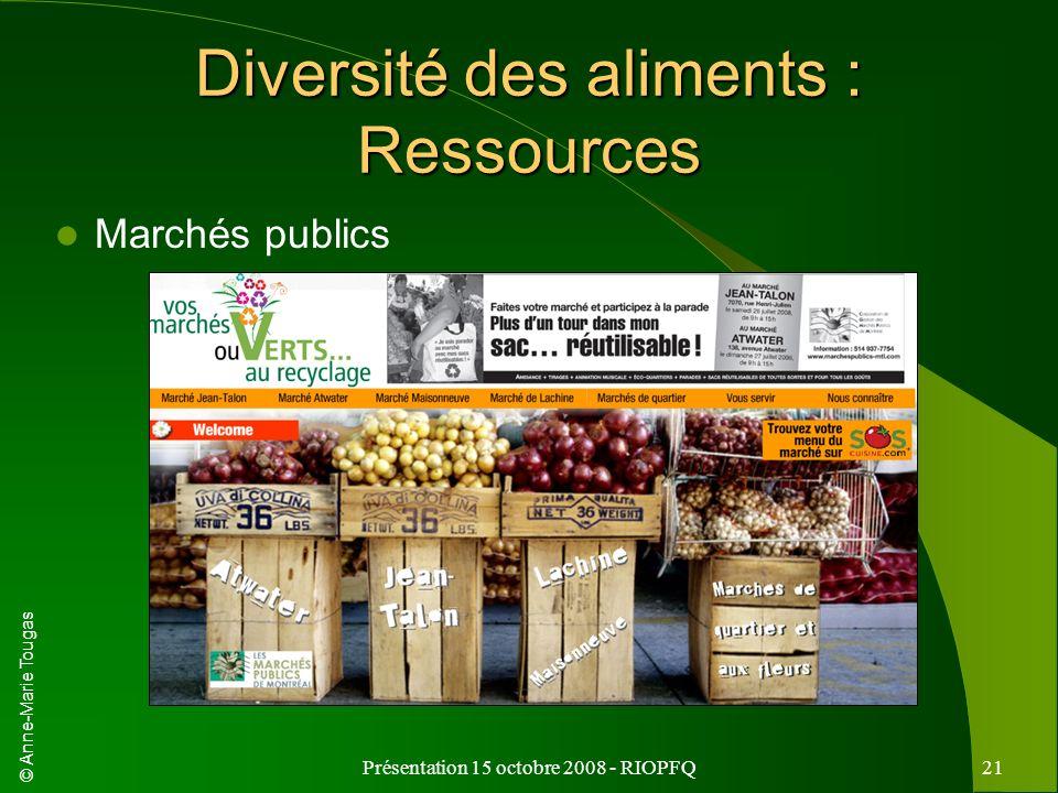 Diversité des aliments : Ressources