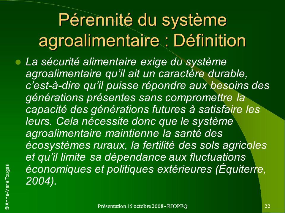 Pérennité du système agroalimentaire : Définition