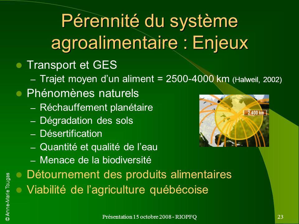 Pérennité du système agroalimentaire : Enjeux