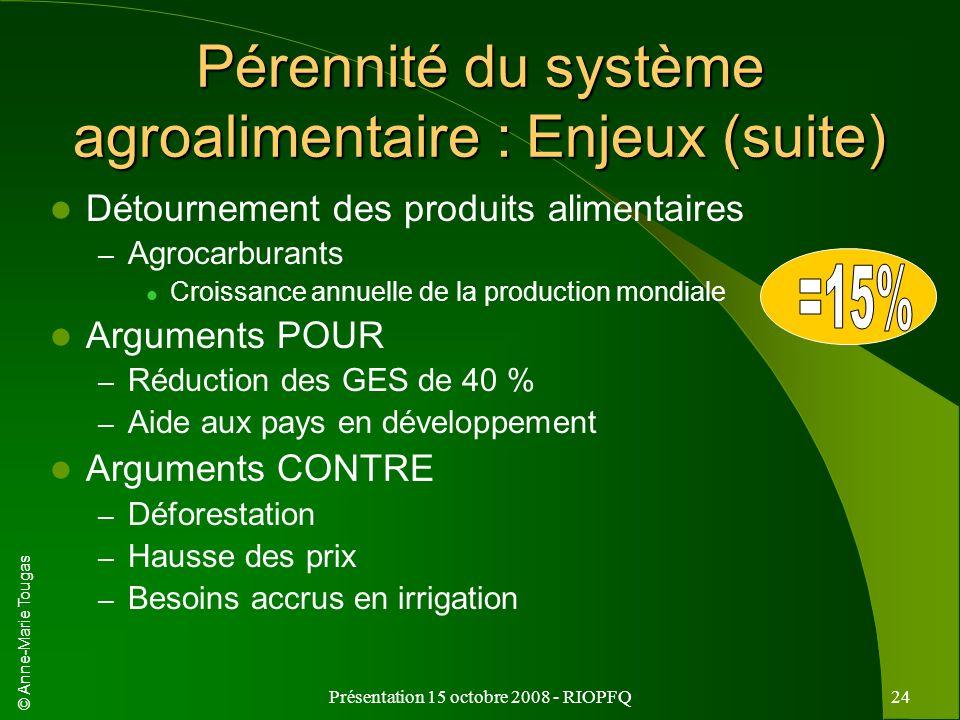Pérennité du système agroalimentaire : Enjeux (suite)