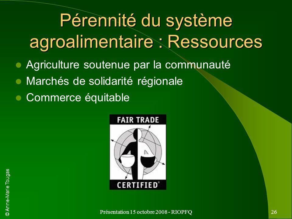 Pérennité du système agroalimentaire : Ressources