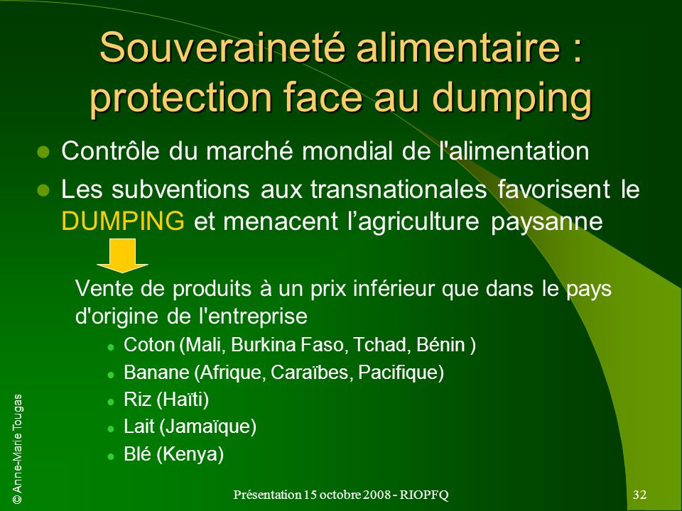 Souveraineté alimentaire : protection face au dumping