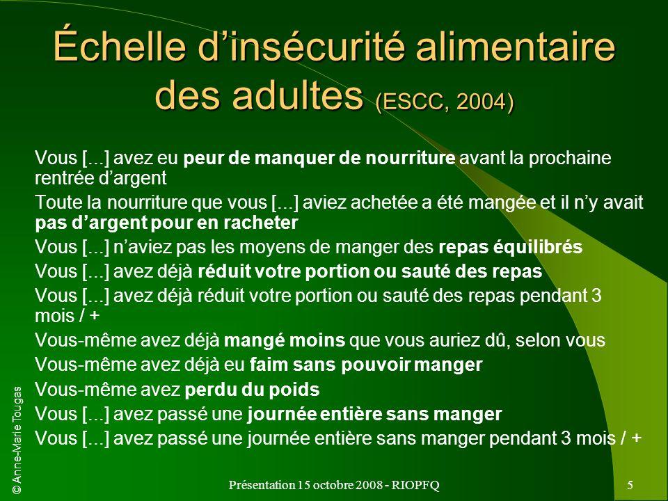 Échelle d'insécurité alimentaire des adultes (ESCC, 2004)