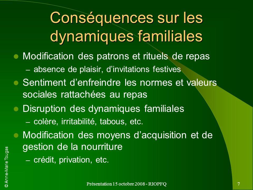 Conséquences sur les dynamiques familiales