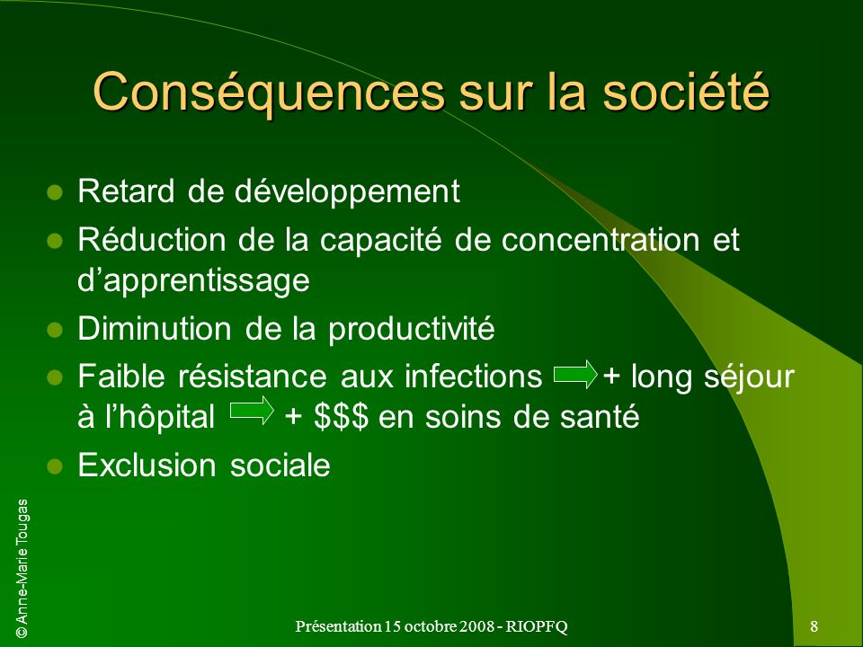 Conséquences sur la société