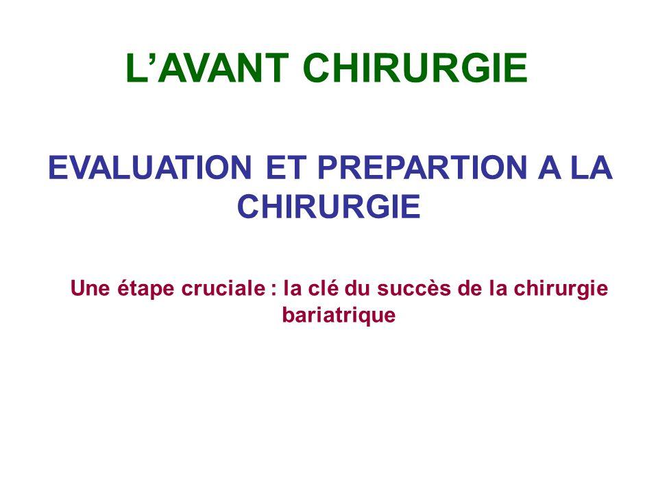 L'AVANT CHIRURGIE EVALUATION ET PREPARTION A LA CHIRURGIE