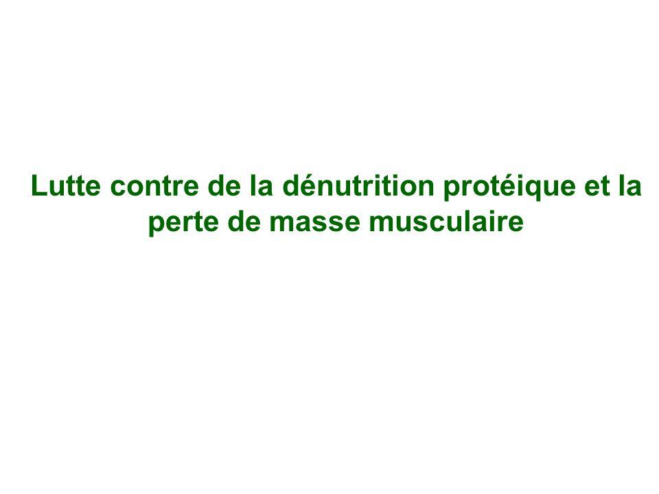Lutte contre de la dénutrition protéique et la perte de masse musculaire