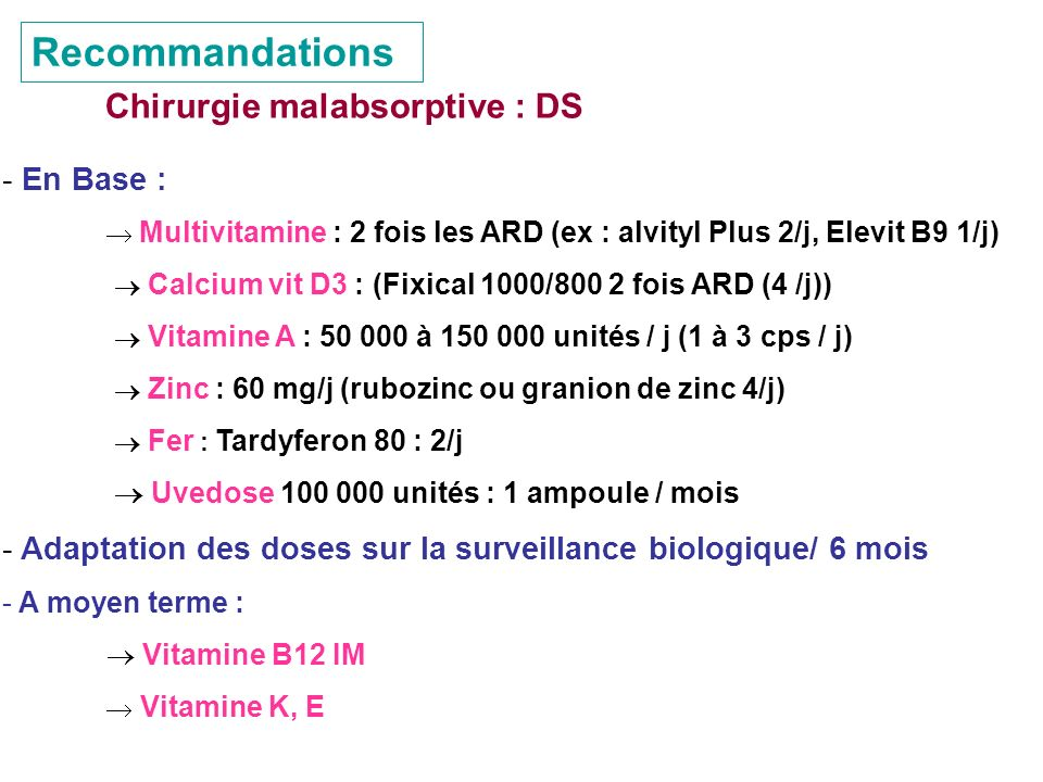 Recommandations Chirurgie malabsorptive : DS En Base :
