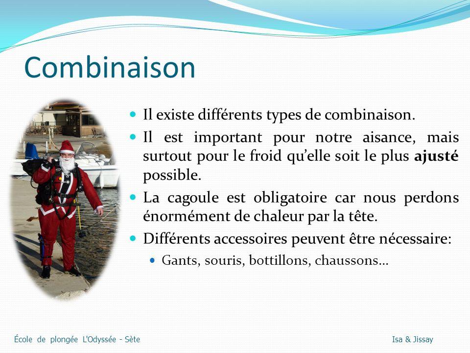 Combinaison Il existe différents types de combinaison.