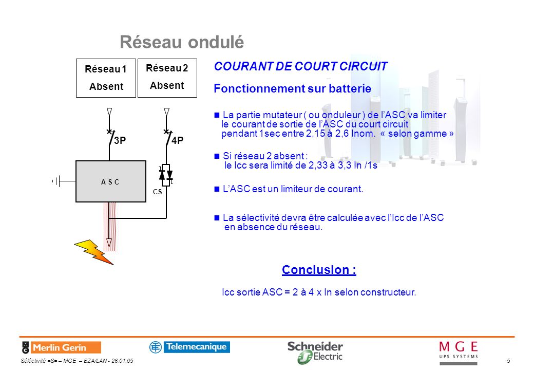 Icc sortie ASC = 2 à 4 x In selon constructeur.