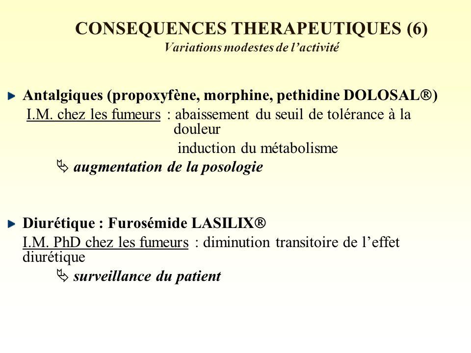 CONSEQUENCES THERAPEUTIQUES (6) Variations modestes de l'activité