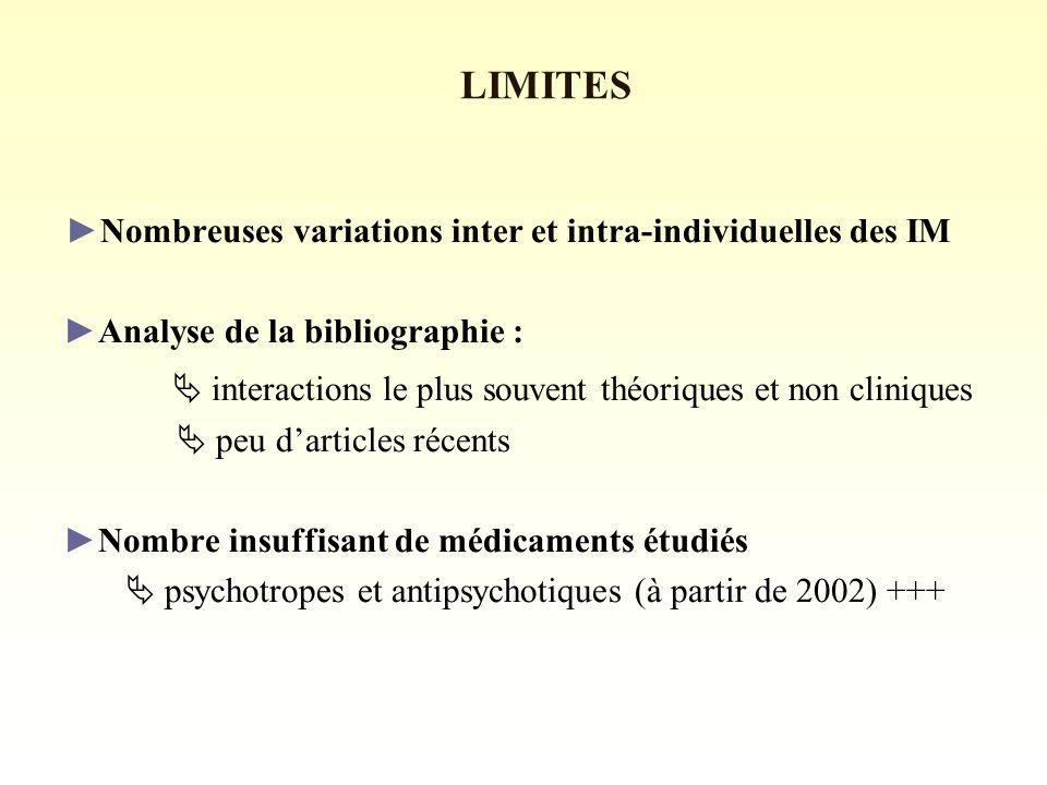 Nombreuses variations inter et intra-individuelles des IM