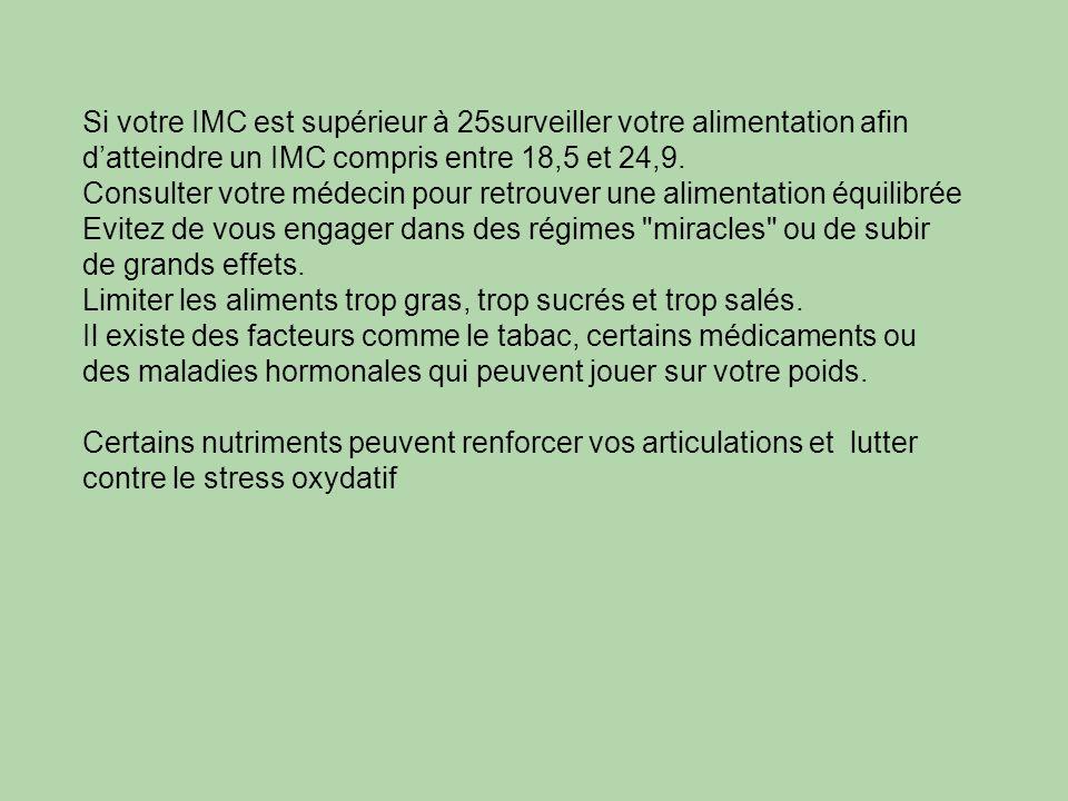 Si votre IMC est supérieur à 25surveiller votre alimentation afin d'atteindre un IMC compris entre 18,5 et 24,9.