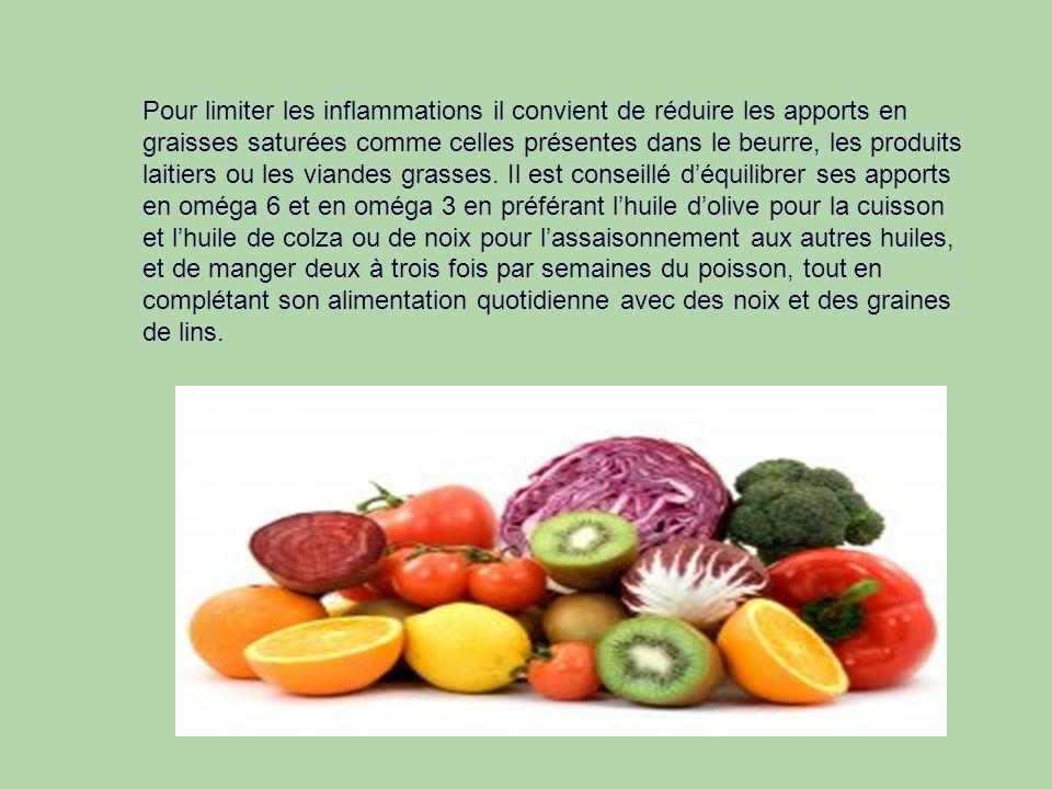 Pour limiter les inflammations il convient de réduire les apports en graisses saturées comme celles présentes dans le beurre, les produits laitiers ou les viandes grasses.