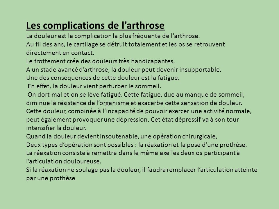 Les complications de l'arthrose