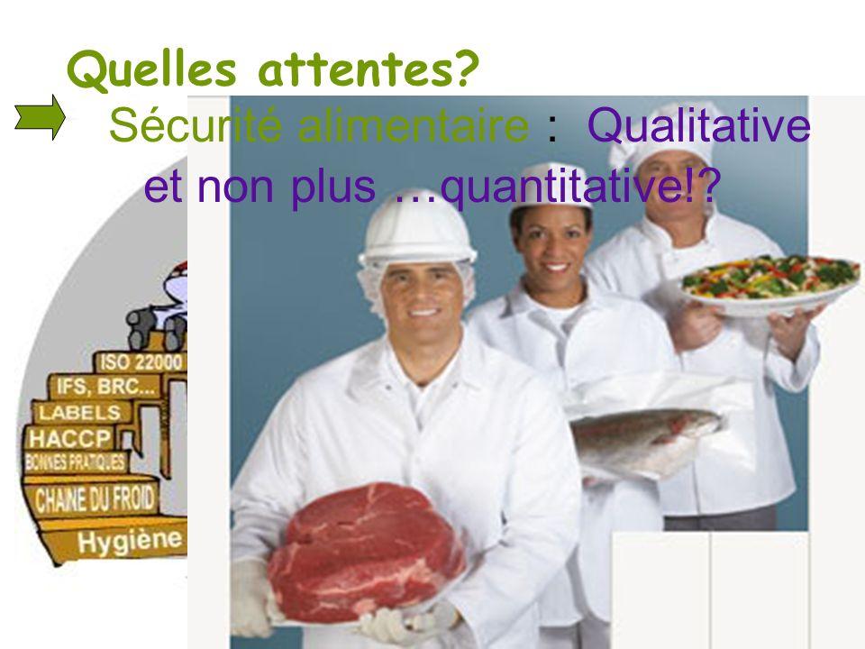 Sécurité alimentaire : Qualitative et non plus …quantitative!