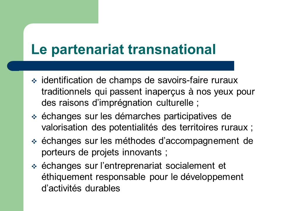 Le partenariat transnational