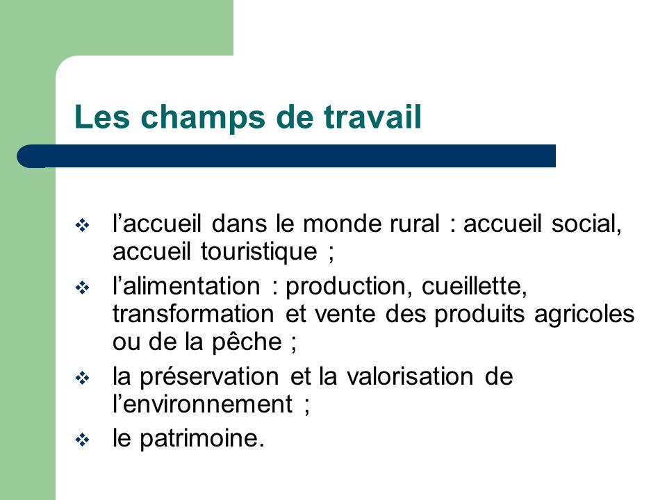 Les champs de travail l'accueil dans le monde rural : accueil social, accueil touristique ;