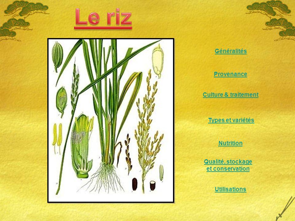 Généralités Provenance. Culture & traitement. Types et variétés. Nutrition. Qualité, stockage. et conservation.