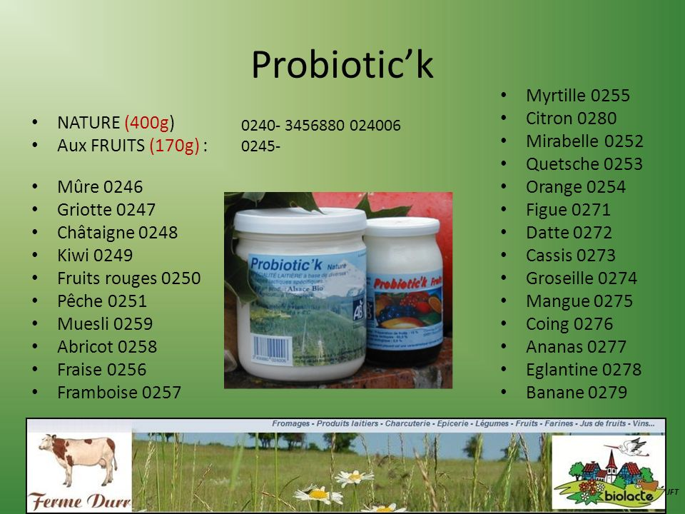 Probiotic'k Myrtille 0255 Citron 0280 Mirabelle 0252 NATURE (400g)