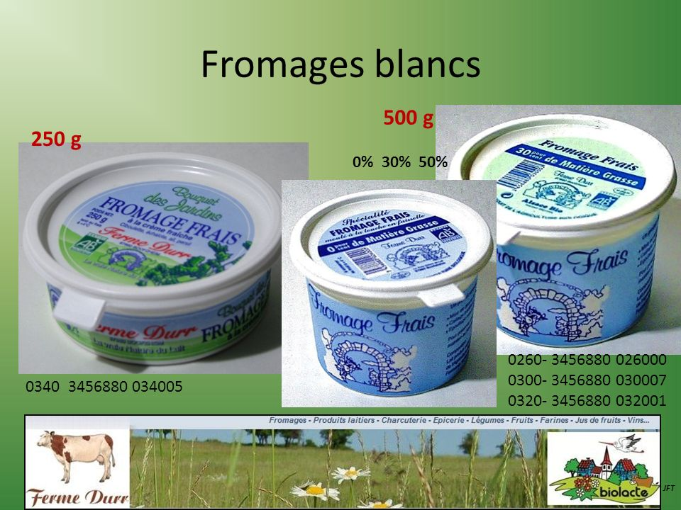 Fromages blancs 500 g 250 g 0% 30% 50% 0260- 3456880 026000