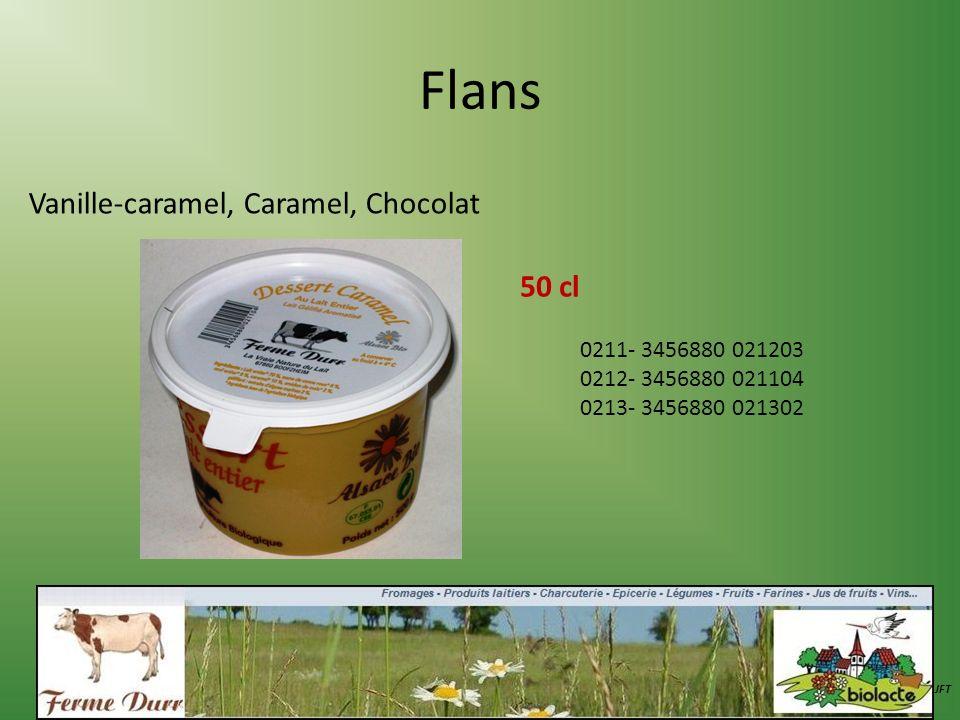 Flans Vanille-caramel, Caramel, Chocolat 50 cl