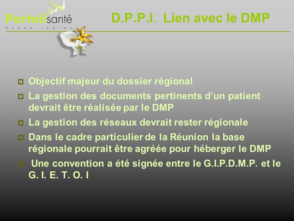 D.P.P.I. Lien avec le DMP Objectif majeur du dossier régional
