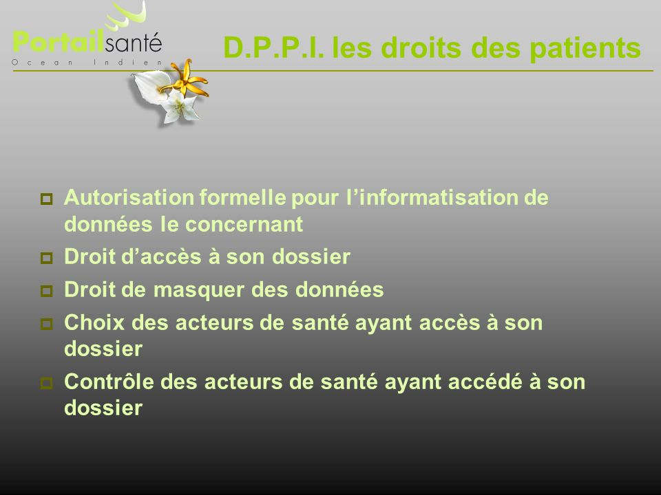 D.P.P.I. les droits des patients