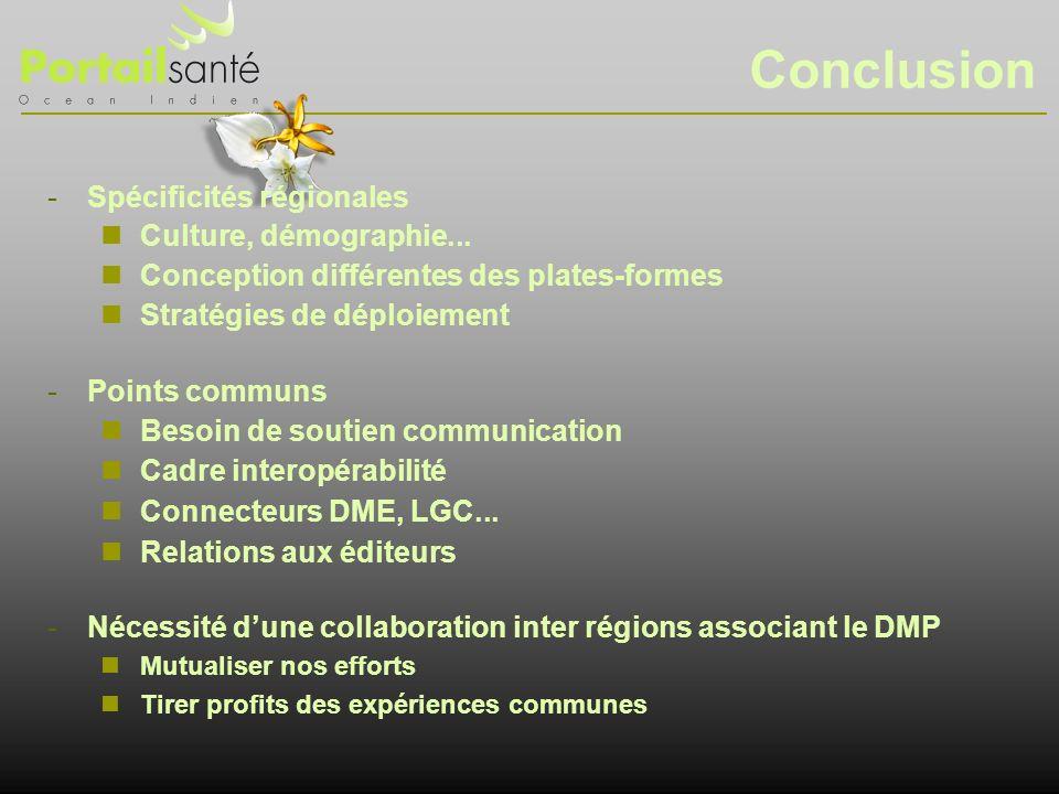 Conclusion Spécificités régionales Culture, démographie...