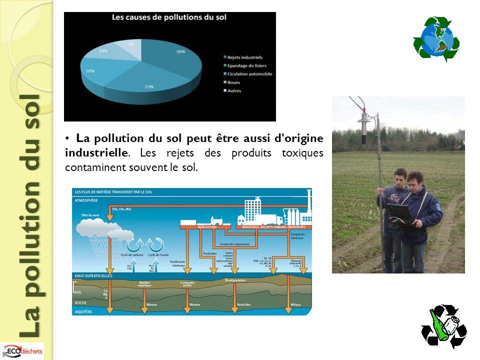 La pollution du sol peut être aussi d origine industrielle