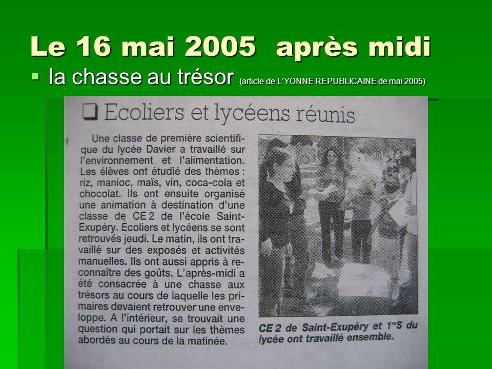 Le 16 mai 2005 après midi la chasse au trésor (article de L'YONNE REPUBLICAINE de mai 2005)