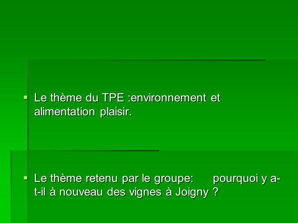 Le thème du TPE :environnement et alimentation plaisir.
