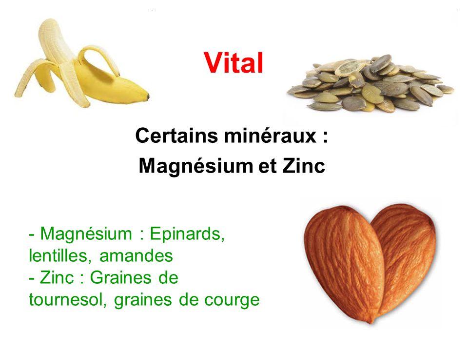 Certains minéraux : Magnésium et Zinc