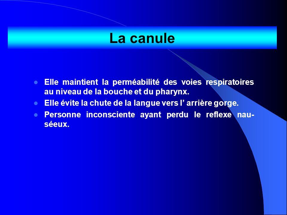 La canuleElle maintient la perméabilité des voies respiratoires au niveau de la bouche et du pharynx.