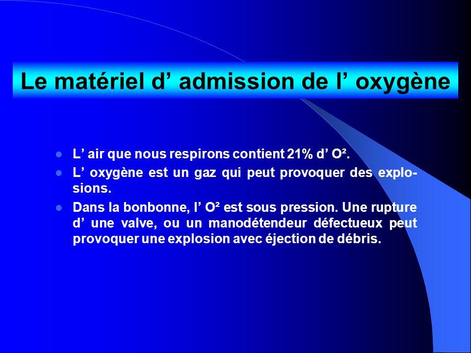 Le matériel d' admission de l' oxygène