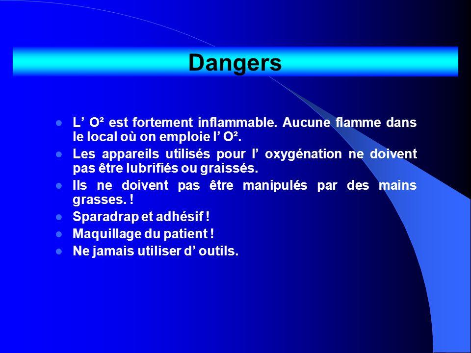 DangersL' O² est fortement inflammable. Aucune flamme dans le local où on emploie l' O².
