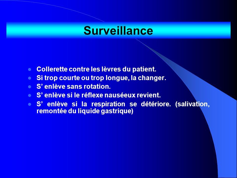 Surveillance Collerette contre les lèvres du patient.