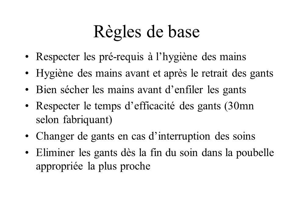 Règles de base Respecter les pré-requis à l'hygiène des mains