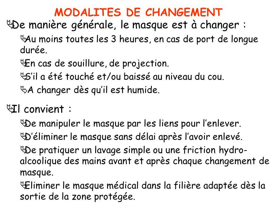 MODALITES DE CHANGEMENT