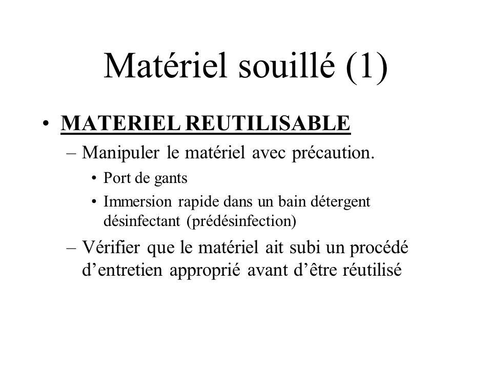 Matériel souillé (1) MATERIEL REUTILISABLE