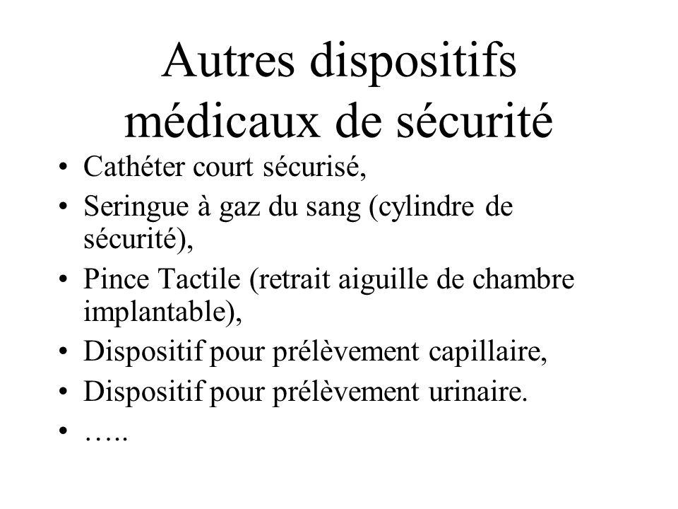 Autres dispositifs médicaux de sécurité