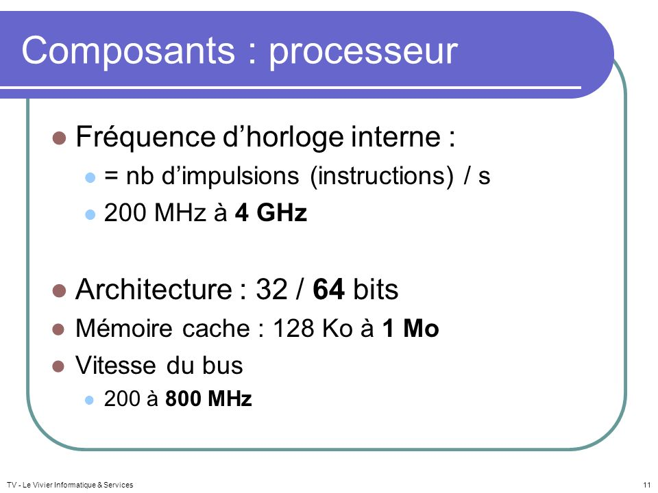 Composants : processeur