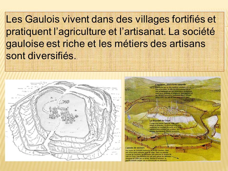 Les Gaulois vivent dans des villages fortifiés et pratiquent l'agriculture et l'artisanat.