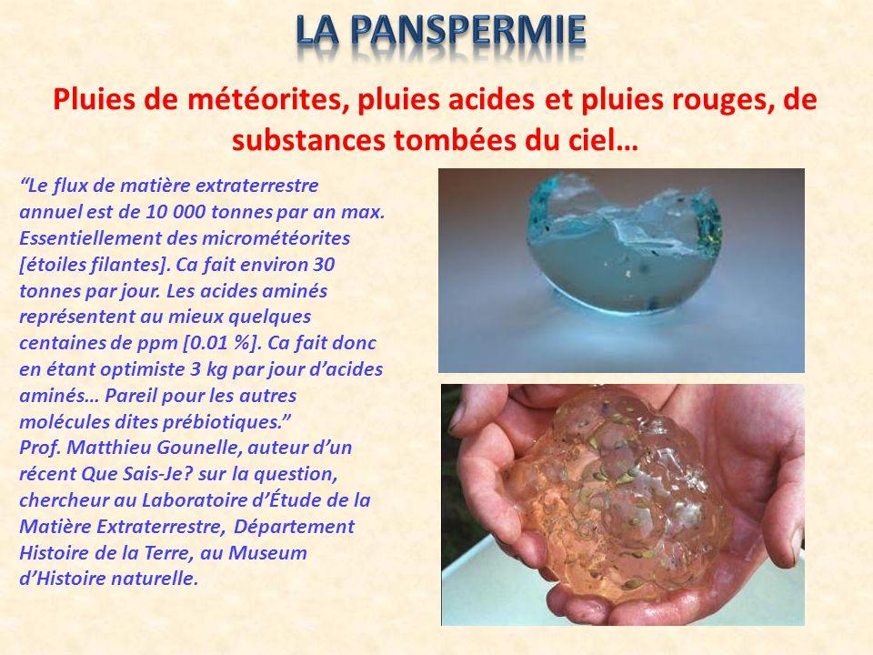 La panspermie Pluies de météorites, pluies acides et pluies rouges, de substances tombées du ciel…
