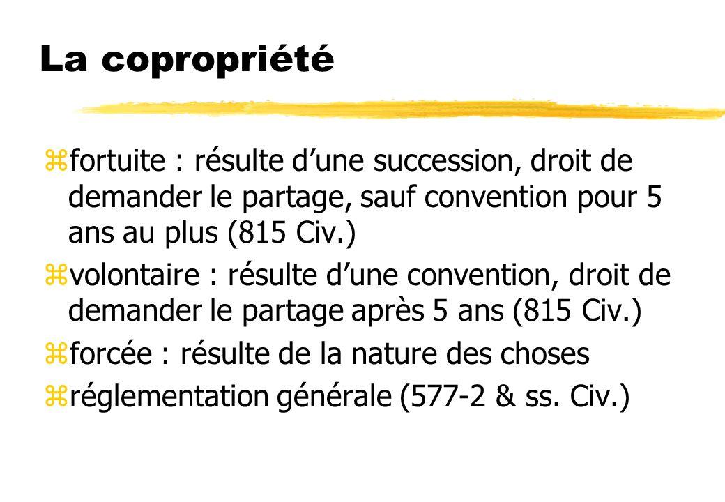 La copropriété fortuite : résulte d'une succession, droit de demander le partage, sauf convention pour 5 ans au plus (815 Civ.)